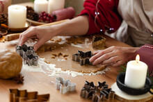 Young Woman In Process Of Baking Christmas Pastry, Cutting Cookies Of Gingerbread Dough. Festive Mood. Family Culinary Concept, Cooking Process, New Year Eve Tradition. Holiday Atmosphere Of Love.