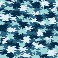 Cute Camouflage Stars Seamless Pattern Background.