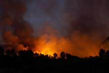 Incendio Forestal Por La Noche En Ourense, Galicia, Spain.