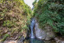 A Waterfall On The Annapurna Hiking Trek In The Himalaya In Nepal