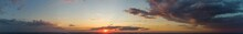 Red Sunset. Panorama Of Red Sky With Clouds.