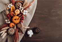 Rustic Mockup With Autumn Table Decoration. Floral Interior Decor For Fall Holidays
