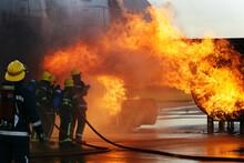 Jet Aircraft Fire, Airport Fire Crew Fighting Craft Engine Fire