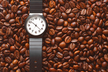 You Can Drink Coffee At Any Time. Black Watch With White Dial And Coffee Beans.