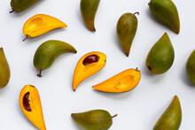 Canistel Fruit On White Background.