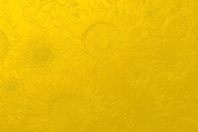 Embossed Flower Background. Sunflowers, Chrysanthemums, Hydrangeas, Gerberas, Apples. 3D Illustration. 3D Rendering