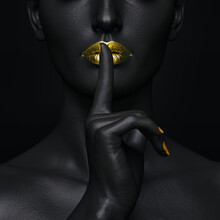 Mysterious Secrets. Close-up Of A Black Female Figure With Her Fingers Over Her Golden Lips In A Gesture Of Silence,3D Illustration