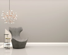 Living Room With Gray Wall Gray Velvet Armchair Decorative Side Table And Chandelier