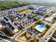 Top-down Aerial View Of Urban Houses And Streets In A Residential Area Of Ashburn. Virginia, USA