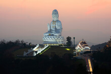 Wat Huay Pla Kung Or Big Buddha Temple In Chiang Rai Province In North Of Thailand, During Sunset At Dusk, The Temple