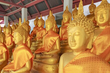 Buddha Statues At The Temple Of Wat Umong Lamphun , Thailand