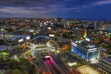 Landscape Of A Modern City Surrounded By Lights In The Evening In The Dominican Republic