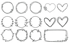 Doodle Frames Set Hand Drawn. Round, Hearts Lines With Flowers, Stars, Space, Plants. Valentine's Day For Wedding Isolated Collection.