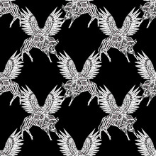 Dreamy Flying Wild Magic Winged Ox, Bison Or Bull Seamless Pattern In Minimalism Aesthetic Background.