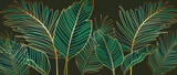 Golden leaves line art background vector. luxury gold abstract wallpaper with blue and tidewater green color. Design for prints, Home decoration, fabric and cover design. vector illustration.