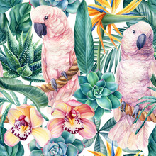 Tropical Leaves, Flowers And Pink Cockatoo Parrots, Jungle Background, Watercolor Painting. Seamless Pattern
