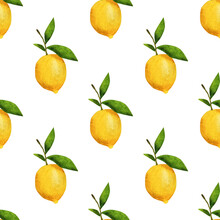 Watercolor Lemons With Green Leaves. Seamless Pattern.