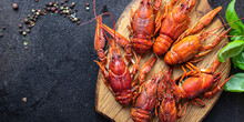 Crayfish Fresh Boiled Crustaceans Ready To Eat Meal Snack On The Table Copy Space Food Background Rustic. Top View