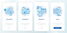 UX Basics Onboarding Mobile App Page Screen. Customer Desirable Solution Walkthrough 4 Steps Graphic Instructions With Concepts. UI, UX, GUI Vector Template With Linear Color Illustrations