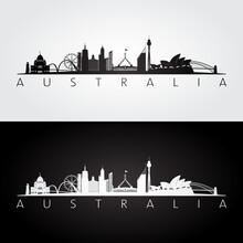 Australia Skyline And Landmarks Silhouette, Black And White Design, Vector Illustration.