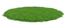 Round Surface Patch Covered With Green Grass Isolated On White Background. Realistic Natural Element For Design. Bright 3d Illustration.