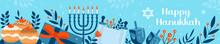 Happy Hanukkah Banner, Template For Your Design. Hanukkah Is A Jewish Holiday. Greeting Card With Menorah, Sufganiyot, Dreidel. Vector Illustration