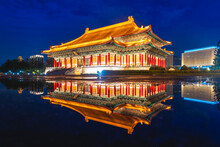 Night Scene Of National Theater And Concert Hall In Taipei, Taiwan