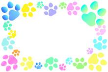 かわいい肉球のフレーム素材。白い背景にたくさんの犬の足あとがあるイラスト素材。