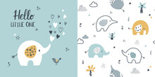 Сhildish Pattern With Little Elephant, Baby Shower Greeting Card. Animal Seamless Background, Cute Vector Texture For Kids Bedding, Fabric, Wallpaper, Wrapping Paper, Textile, T-shirt Print