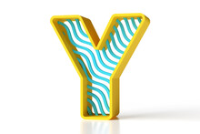Fresh Style Letter Y 3d Designed With Yellow Borders And Blue Waves. High Quality 3D Rendering.