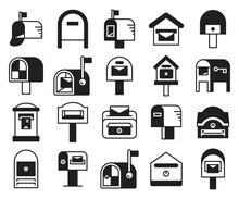 Mailbox And Postbox Icons Set Vector