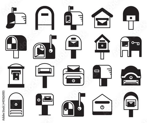 Fotografie, Obraz mailbox and postbox icons set vector
