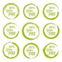 Set Of Gluten Free Grunge Label Sticker On A White Background