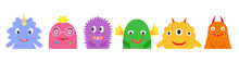 Monsters Half, Multicolored Bright Set, Kind Smiling With Horns And Wings, Smooth And Fluffy, With A Crown And Flowers. A Collection Of Cute Funny Characters. Vector Flat Illustration