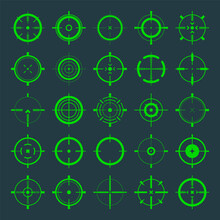 Crosshair, Gun Sight Vector Icons. Bullseye, Green Target Or Aim Symbol. Military Rifle Scope, Shooting Mark Sign. Targeting, Aiming For A Shot. Archery, Hunting And Sports Shooting. Game UI Element.