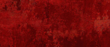 Elegant Fancy Rich Red Texture Paper Cracked And Scratched Wall  Or Antique Metal Grunge In Luxury Backdrop Template, Autumn Or Christmas Background