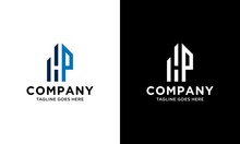 H P Initial Logo Concept With Building Template Vector.