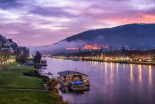 Old Town Of Heidelberg Along The Neckar River With Heidelberg Castle At Sunrise