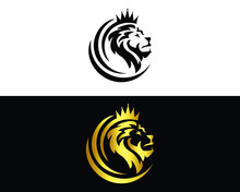 Lion King Logo And Luxury Design Vector Template.