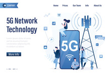 5G Network Technology, Landing Page Template. Users Catch 5G Internet Connection. Communication Tower. Young Adults With Smartphones Using Wireless Internet.