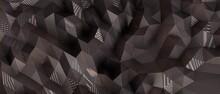 3D Rendering Of  Dark Silver Polygon Wall Luxus