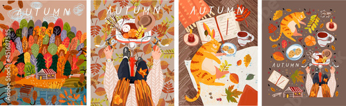 Autumn. Vector illustration of a cozy table with a cat, autumn forest and trees and a woman on a bicycle with leaves. Drawings for poster, card or background