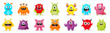 Fototapeta Fototapety na ścianę do pokoju dziecięcego - Cute  Monsters  Vector Set. Kids cartoon character design for poster, baby products logo and packaging design.