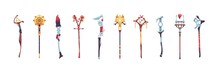 Magic Staves. Wizard Sticks And Wands. Antique Scepter Weapon With Decorative Crystals. Magical Wooden And Metal Staff. Sorcerer And Shaman Tools. Vector Warlock Costume Elements Set