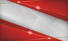 Luxury Abstract Red And White Background With Golden Lines Sparkle. Modern Design Template.