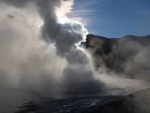 Steaming Geyser At El Tatio, Chile