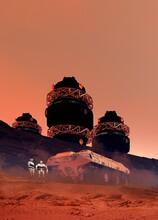 Robots On A Martian Base, Illustration