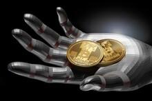 Hand Holding Bitcoins, Illustration