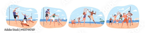Set of happy people playing beach volleyball on sand in summer. Players in swimsuits throwing ball through net. Team sports game. Flat vector illustration of beachvolley isolated on white background