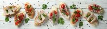 Delicious Italian Snacks Bruschetta On White Wooden Background